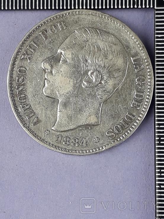5 песет, Испания, 1884 г., король Альфонсо XII, серебро 0.900, 25 гр., фото №2