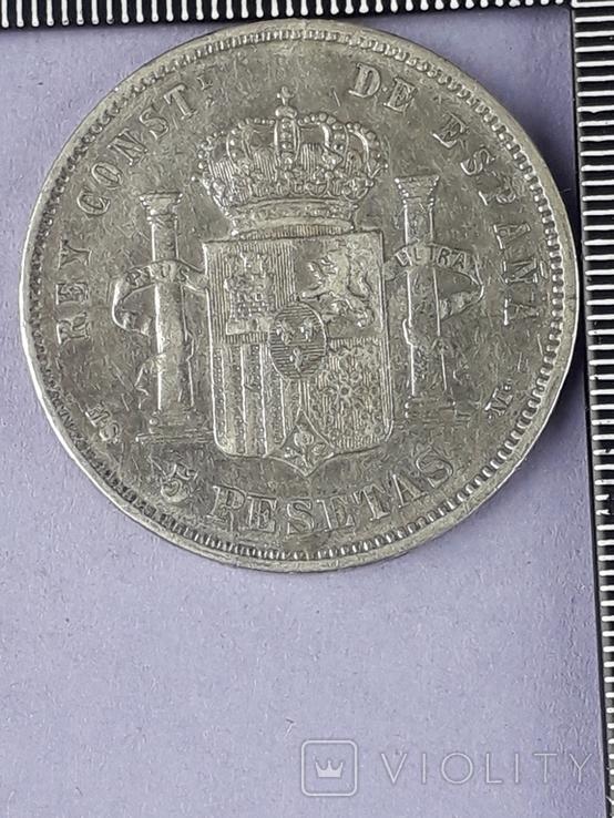 5 песет, Испания, 1884 г., король Альфонсо XII, серебро 0.900, 25 гр., фото №3