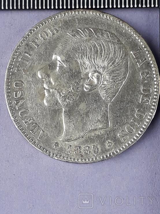 5 песет, Испания, 1885 г., король Альфонсо XII, M.S. .M., серебро 0.900, 25 гр., фото №2