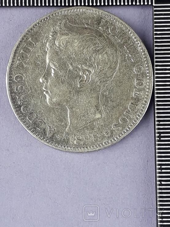 5 песет, Испания, 1898 год, король Альфонсо XIII, серебро 0.900, 25 грамм, фото №2
