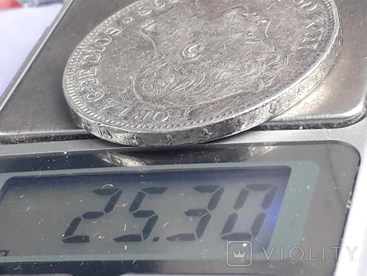 5 песет, Испания, 1898 год, король Альфонсо XIII, серебро 0.900, 25 грамм, фото №4
