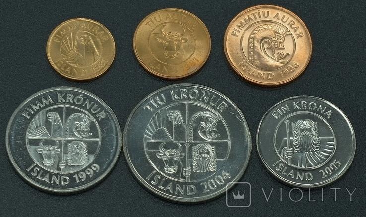 Исландия, набор монет, 6с, фото №4