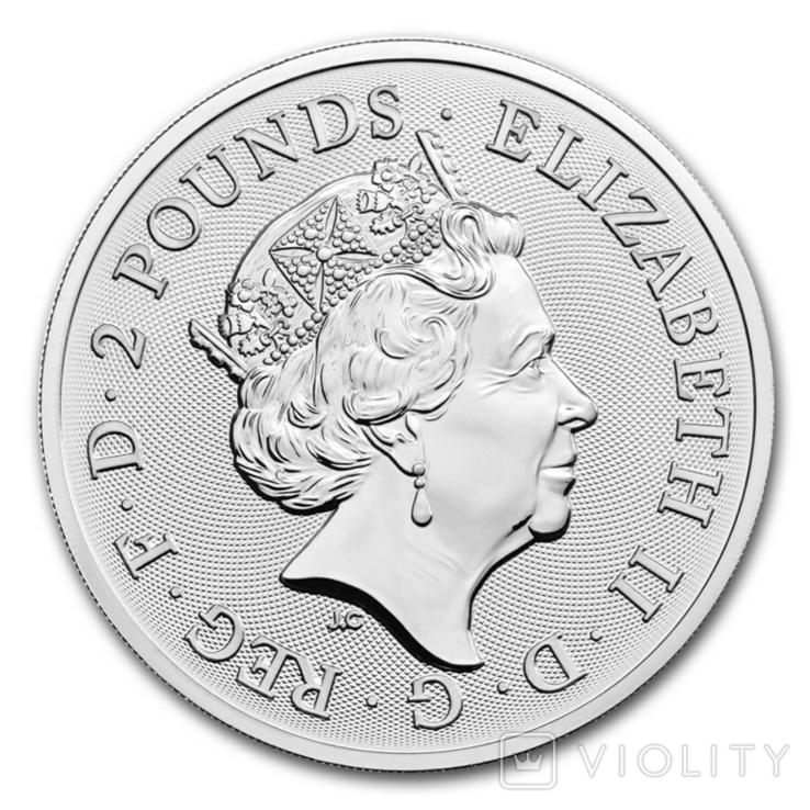 Новинка Дэвид Боуи 2 фунта 2021 Серебро 1oz 999, фото №3