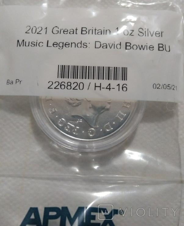Новинка Дэвид Боуи 2 фунта 2021 Серебро 1oz 999, фото №6