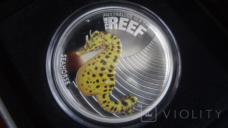 50 центов 2010 Австралия Морской конек Цветная Сертификат Коробка серебро, фото №2
