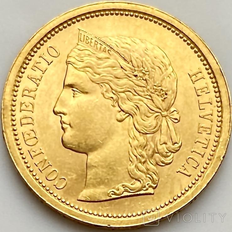 20 франков. 1886. Гельветика. Швейцария (золото 900, вес 6,47 г), фото №2