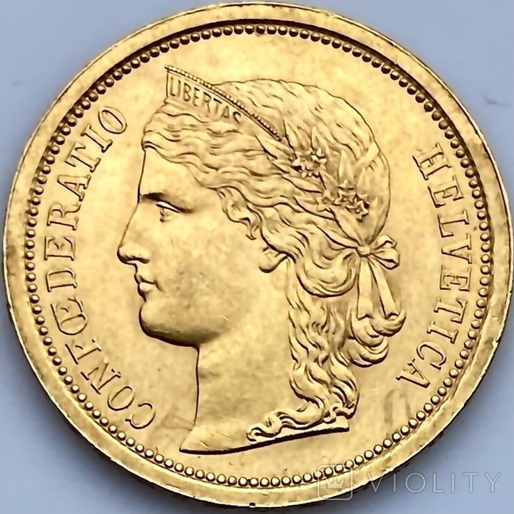 20 франков. 1886. Гельветика. Швейцария (золото 900, вес 6,47 г), фото №4