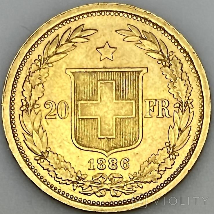 20 франков. 1886. Гельветика. Швейцария (золото 900, вес 6,47 г), фото №7