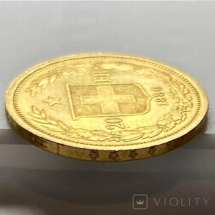 20 франков. 1886. Гельветика. Швейцария (золото 900, вес 6,47 г), фото №9