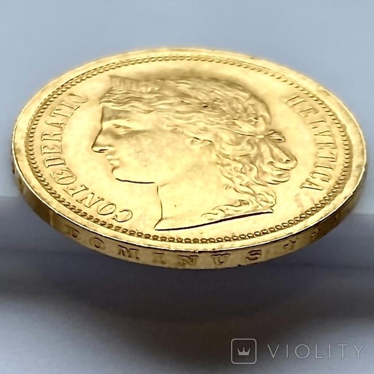 20 франков. 1886. Гельветика. Швейцария (золото 900, вес 6,47 г), фото №10