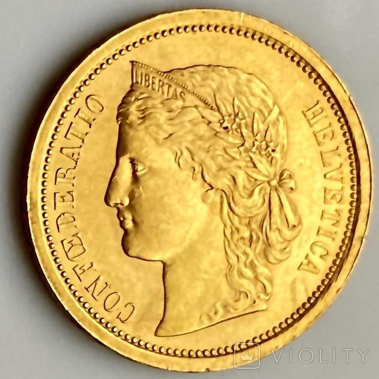 20 франков. 1886. Гельветика. Швейцария (золото 900, вес 6,47 г), фото №12