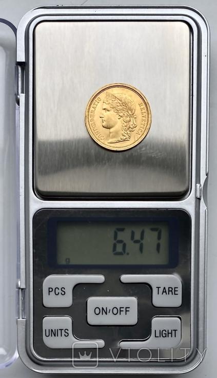 20 франков. 1886. Гельветика. Швейцария (золото 900, вес 6,47 г), фото №13
