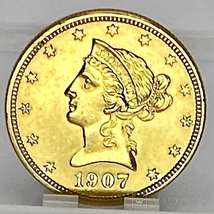 10 долларов. 1907. США (золото 900, вес 16,70 г), фото №6