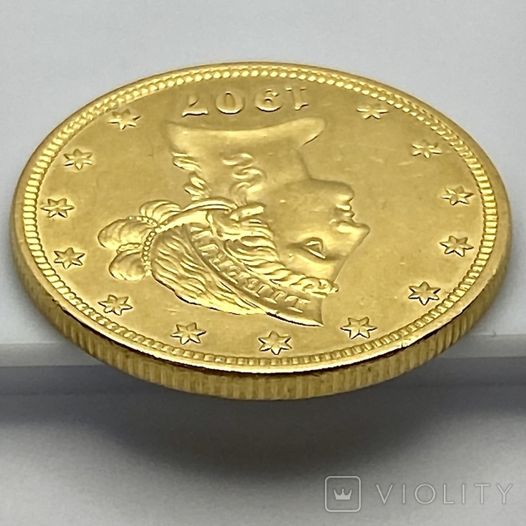 10 долларов. 1907. США (золото 900, вес 16,70 г), фото №9