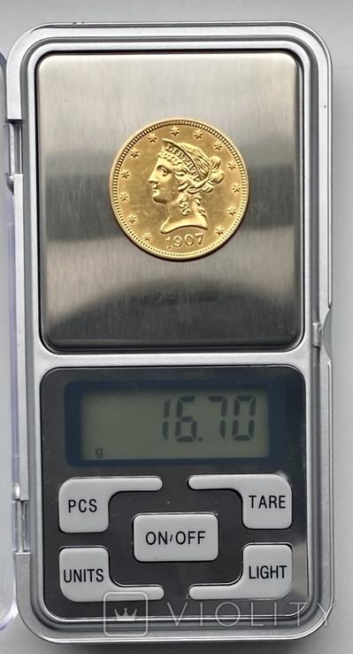 10 долларов. 1907. США (золото 900, вес 16,70 г), фото №13