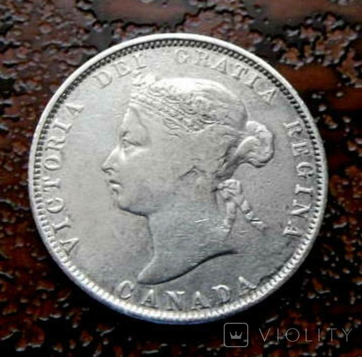 25 центов Канада 1872 серебро, фото №2