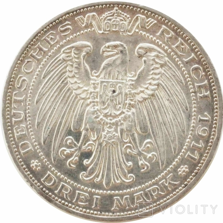 3 марки 1911 р, Прусія (Університет Бреслау ), фото №3