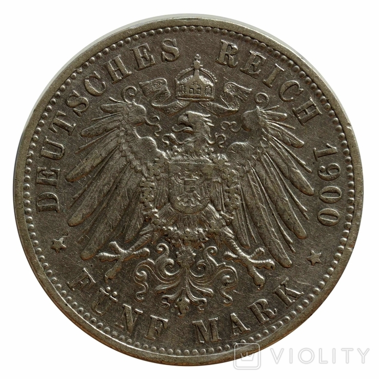 5 марок 1900 р, Вюртемберг, фото №3