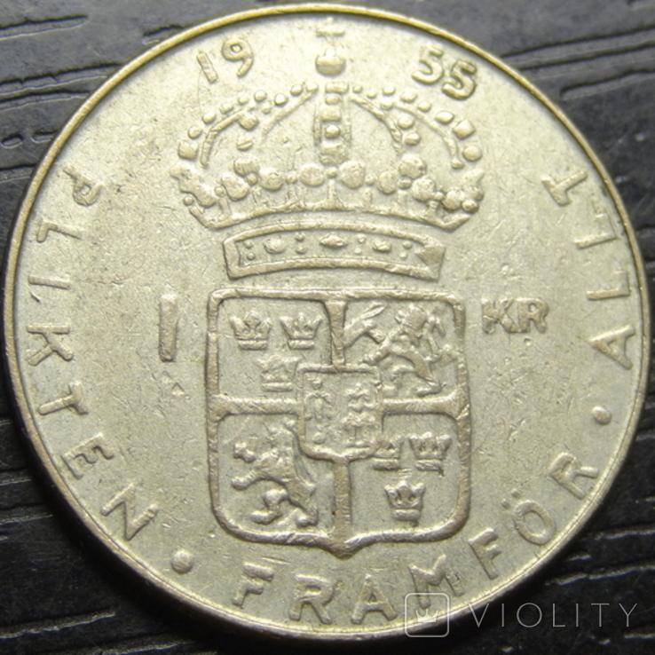 1 крона Швеція 1955 срібло, фото №2