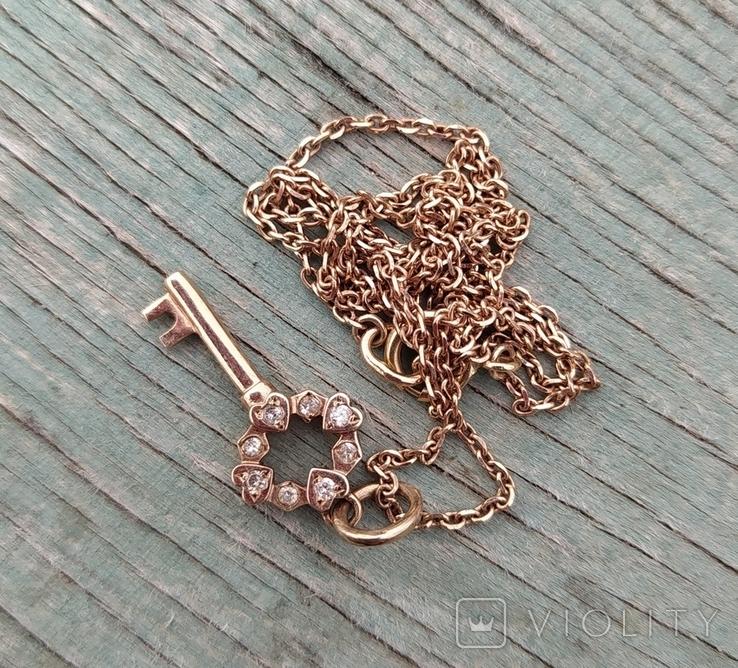 Золотой ключик с бриллиантами(невыкуп)., фото №3