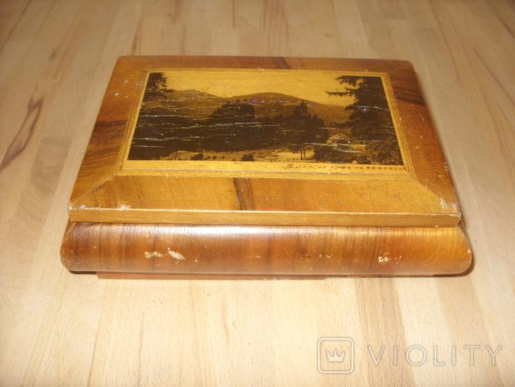 Шкатулка деревянная шпонированная СССР, фото №2