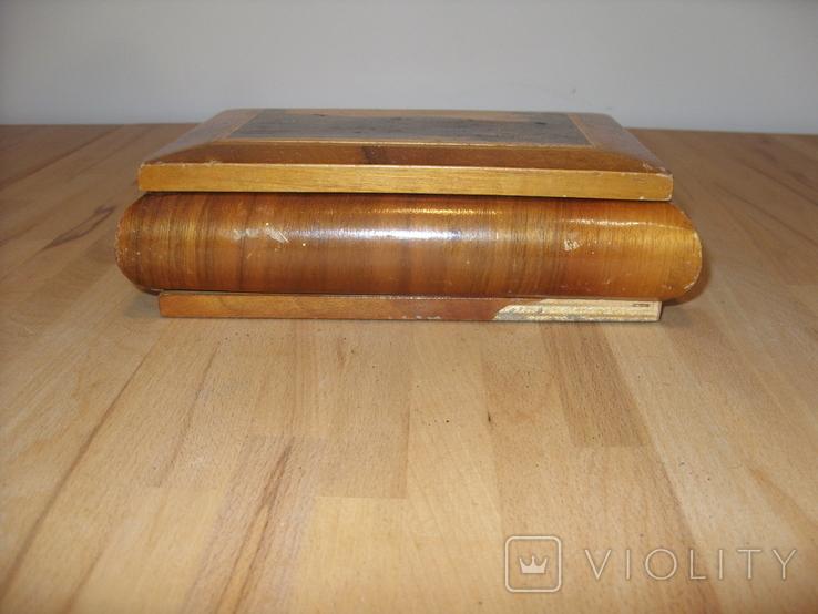 Шкатулка деревянная шпонированная СССР, фото №3