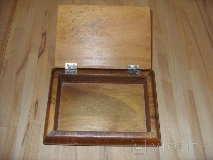 Шкатулка деревянная шпонированная СССР, фото №8