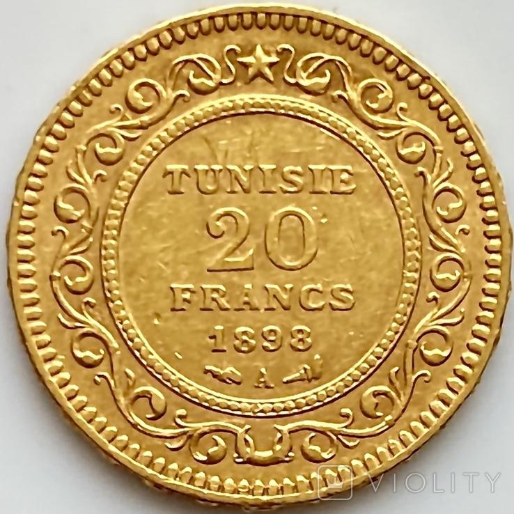 20 франков. 1898. Тунис (золото 900, вес 6,44 г), фото №4