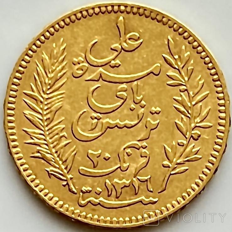 20 франков. 1898. Тунис (золото 900, вес 6,44 г), фото №5