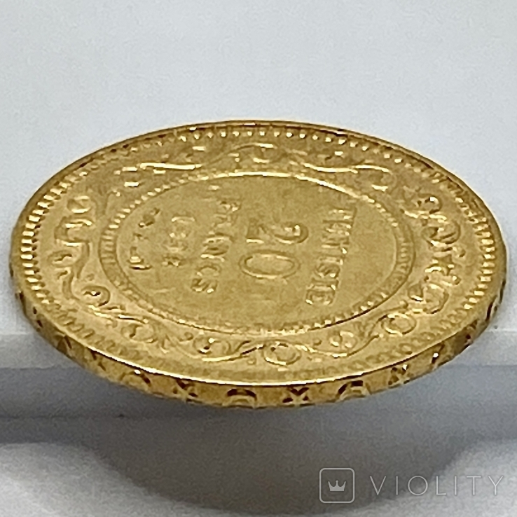 20 франков. 1898. Тунис (золото 900, вес 6,44 г), фото №8
