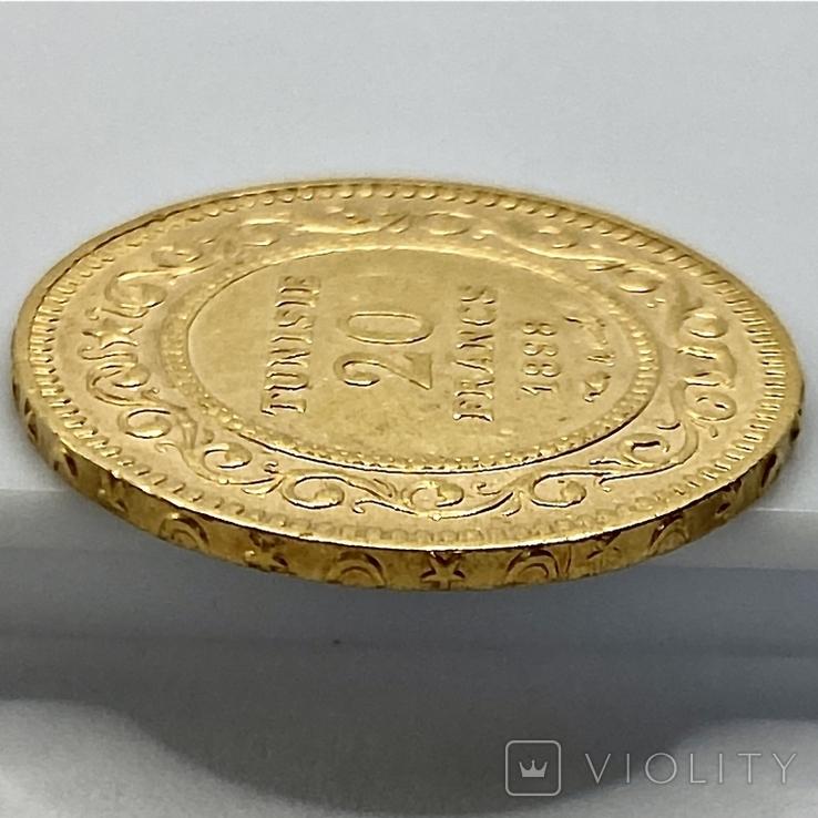 20 франков. 1898. Тунис (золото 900, вес 6,44 г), фото №9