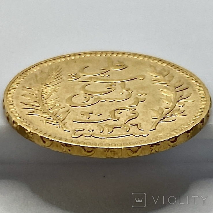 20 франков. 1898. Тунис (золото 900, вес 6,44 г), фото №10