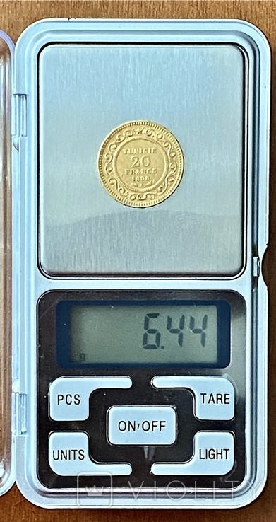 20 франков. 1898. Тунис (золото 900, вес 6,44 г), фото №13