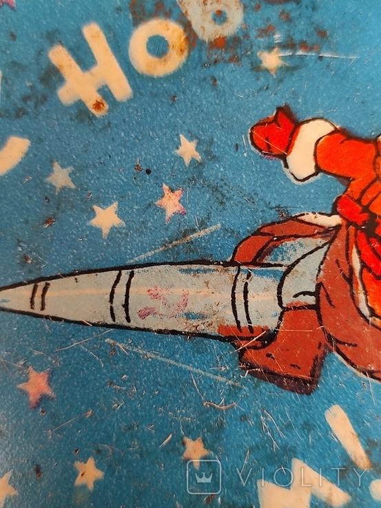 Жестяная банка СССР Космос Новый год Дед мороз. Лот 6, фото №4