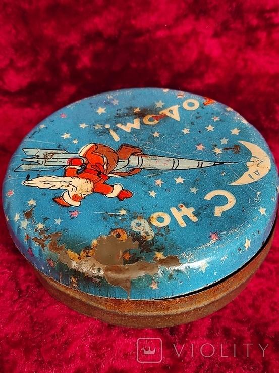 Жестяная банка СССР Космос Новый год Дед мороз. Лот 6, фото №6