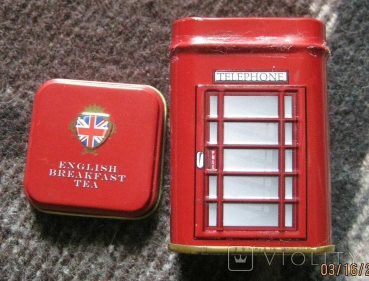 Жестяная коробка из-под чая в виде англ. телефонной будки, фото №3