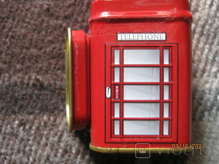 Жестяная коробка из-под чая в виде англ. телефонной будки, фото №5