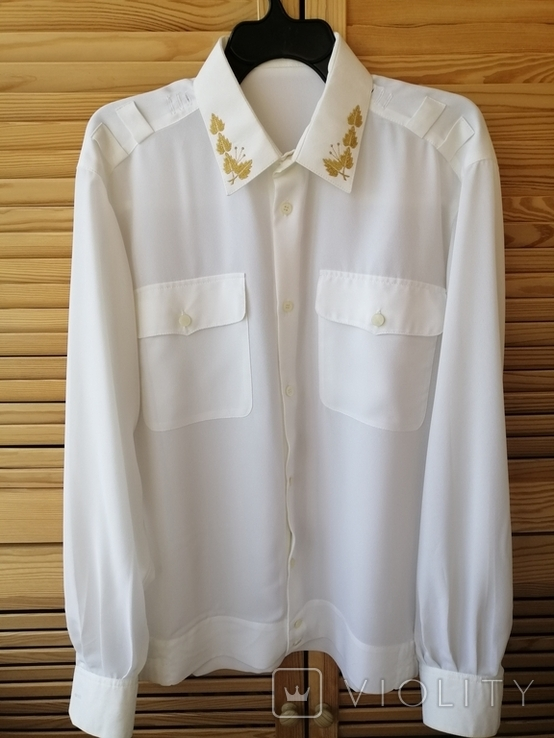 Генеральская шелковая рубашка с вышивкой, индпошив, с галстуком с вышивкой, фото №3