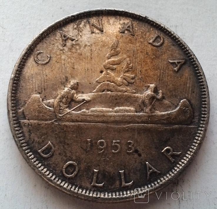 Канада 1 доллар 1953 / серебро, фото №2