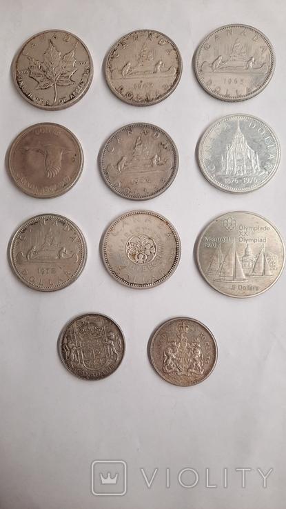 5 долларов1976,1989 ;1 доллар 1962,1964,1965,1966,1967,1972,1976;50центов 1951,1964 (11шт), фото №4