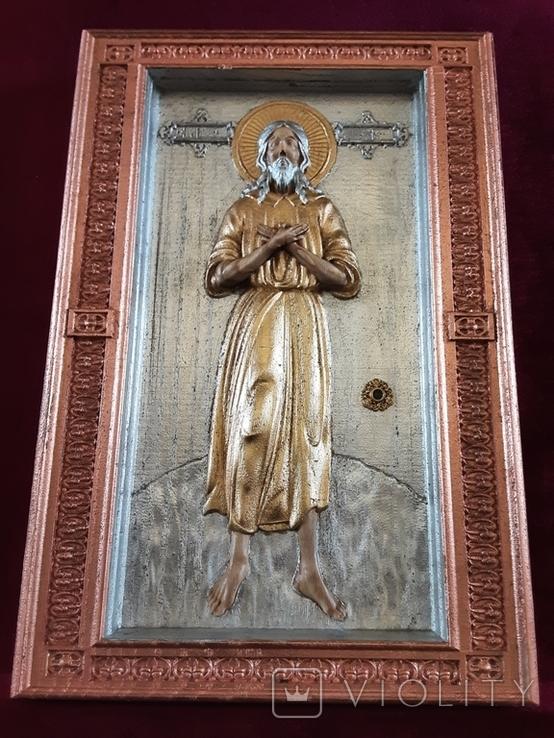 Мощевик-икона прп. Алексий, человек Божий с частичкой мощей святого., фото №3