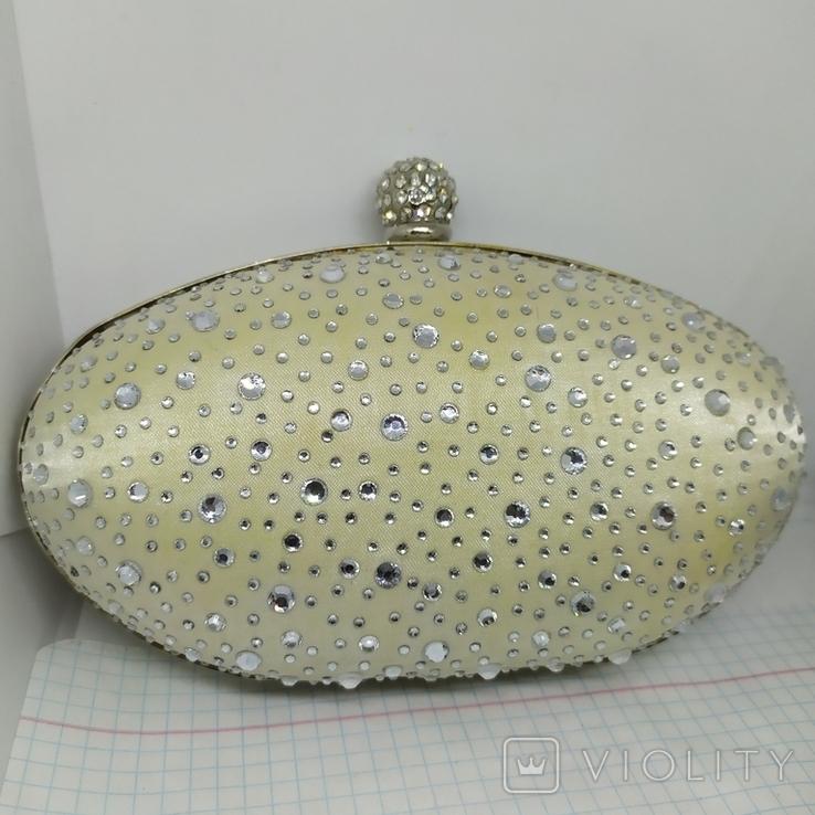 Клатч или сумочка на плечо. Каркасная. Атлас и стразы. 16х11х6см. Новый, фото №2