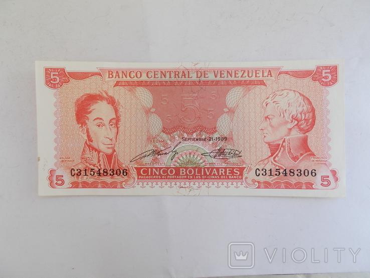 Венесуэла. 5 боливаров 1989 г., фото №2