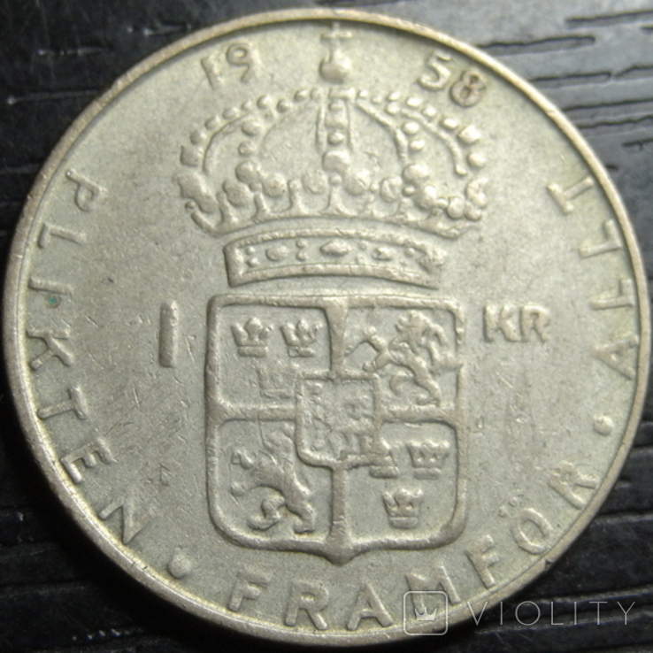 1 крона Швеція 1958 срібло нечаста, фото №2