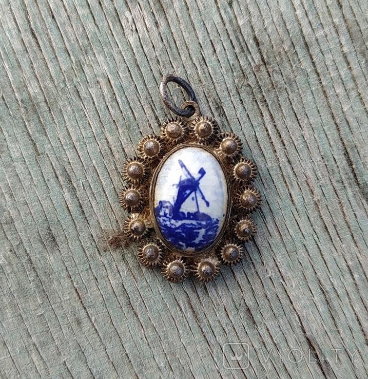 Кулон Голландия, серебро, подглазурная роспись кобальтом., фото №2