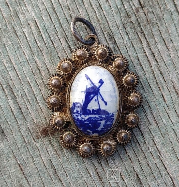 Кулон Голландия, серебро, подглазурная роспись кобальтом., фото №3