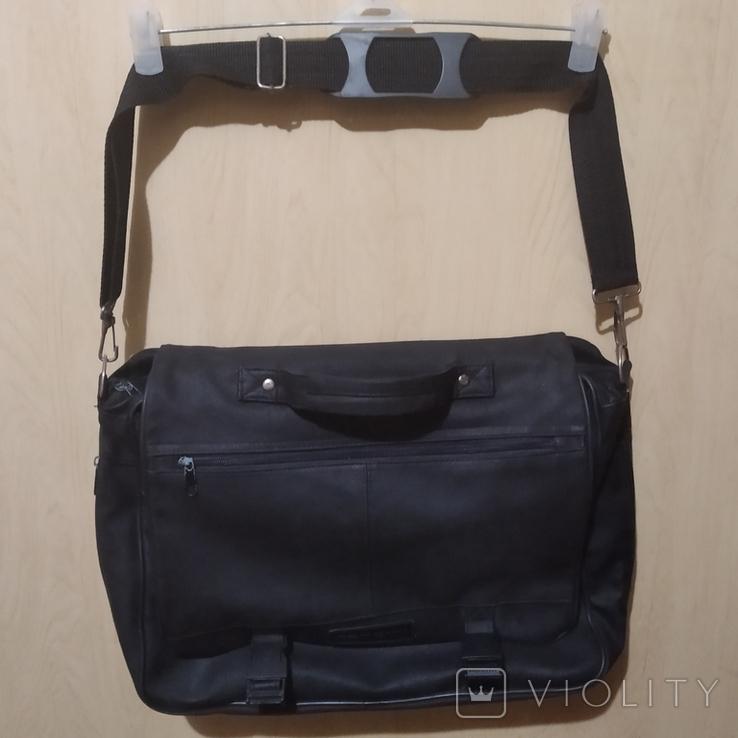 Сумка чёрная для ноутбука, кожзам, фото №3