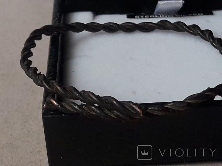 Витой медный браслет из СССР + брошь бант с подвесками, фото №3