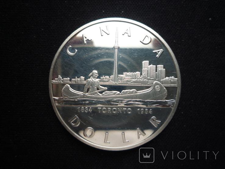 "1 доллар 1984 года, Канада ""150 лет Торонто"", серебро. Proof., фото №3"