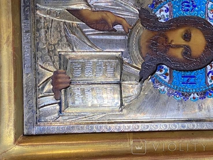 Икона Господь Вседержитель. В серебре и эмалях, фото №8